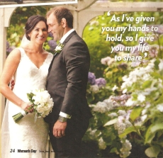 Kayla's beautiful wedding featured on Woman's Day magazine
