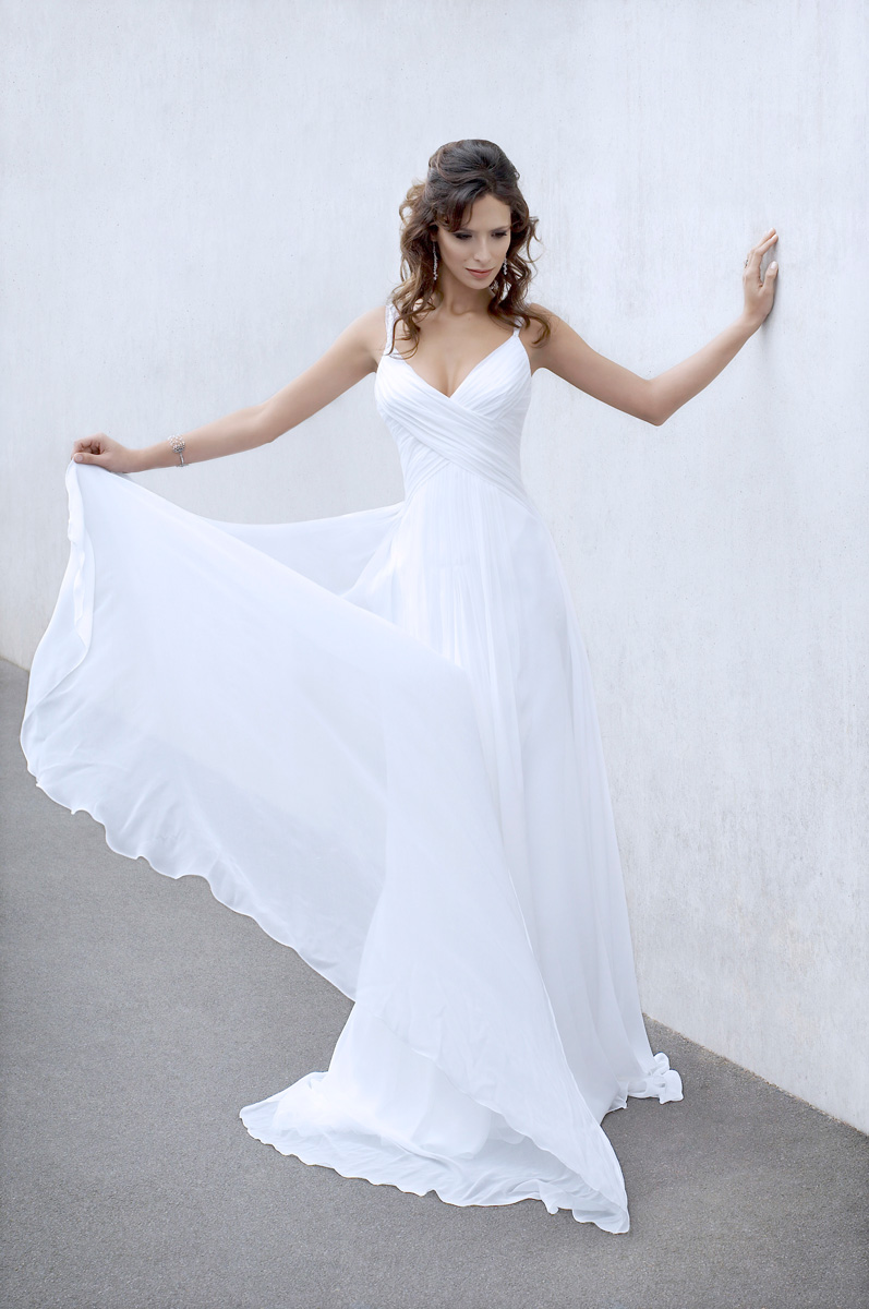 Grace jane yeh design award winning wedding dress for Grecian chiffon wedding dress