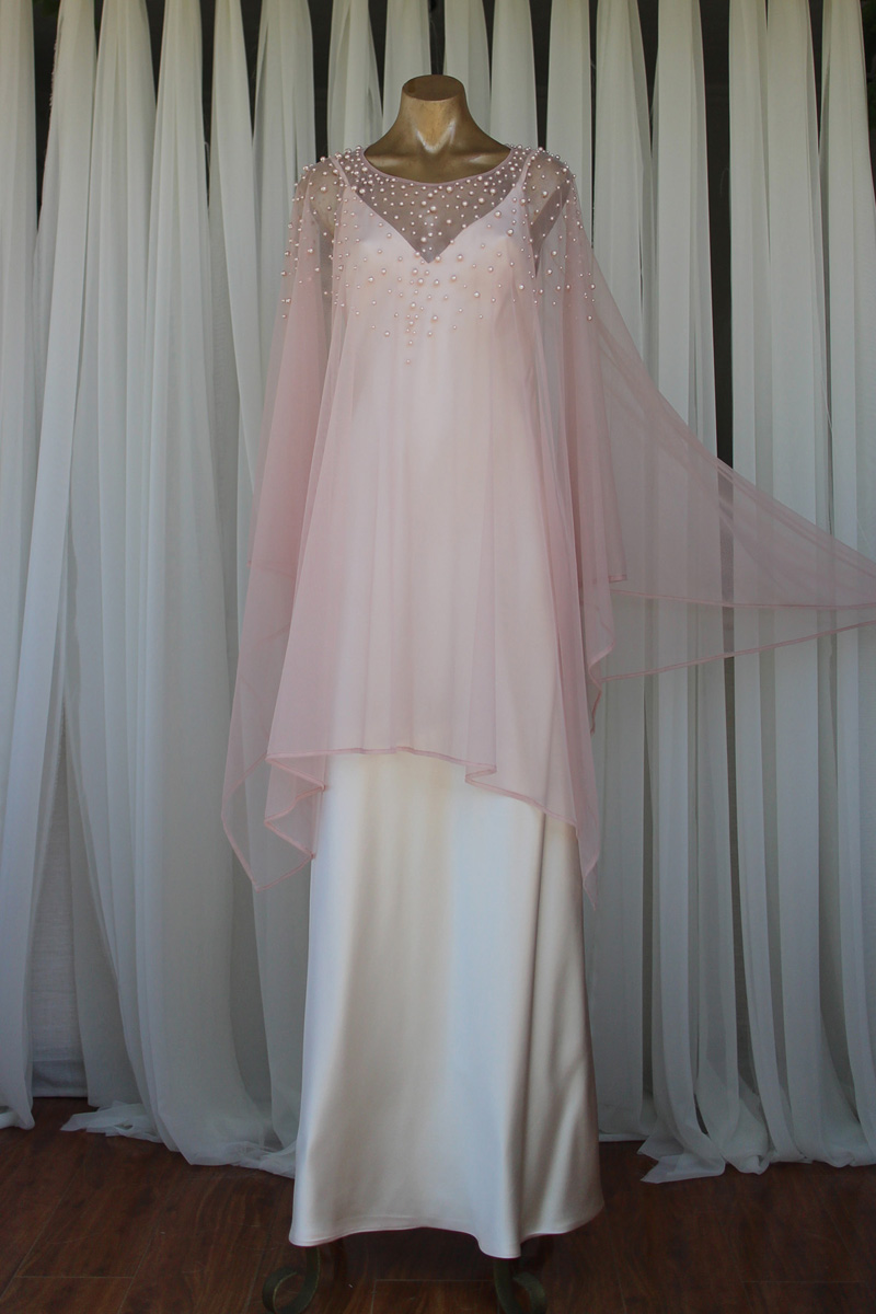 Blush-pink Beaded Pearl Kaftan